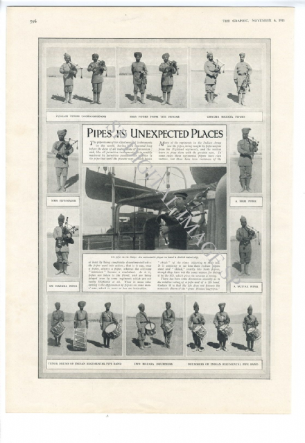 1915 WW1 Print INDIA Sikh Punjabi Soldiers BAGPIPES